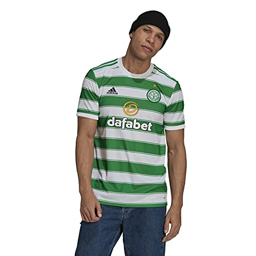 adidas Men's Soccer Celtic 21/22 Home Jersey (Small) White/Green