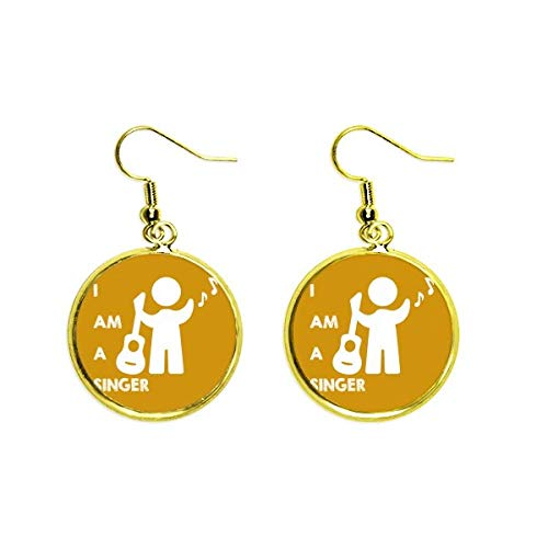 Singing Guitar Singer Performance Position Ear Dangle Golden Drop Earring Jewelry Woman