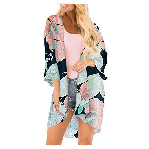 Watopia 2021 Damen Chiffon Kimono Cardigan Elegante Leichte Sommerjacke Bedruckte Mittelärmel Seaside Schal Sonnenschutz Abdeckung Casual Strand Cover Up für Urlaub Einfarbig Sonnenschutz Kittel