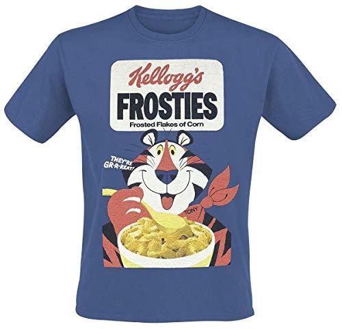 Kellogg's Frosties Männer T-Shirt blau S 100% Baumwolle Fan-Merch, Sprüche