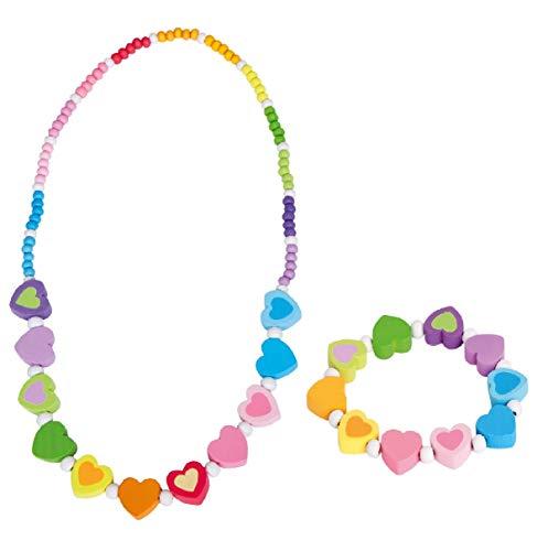 Bino & Mertens 2-teiliges Schmuckset Regenbogen-Herzen für Mädchen - 1x Armband, 1x Kette aus Holz
