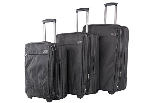 Set valigie trolley 3 pezzi semirigido YY COVERI nero cabina da viaggio S42