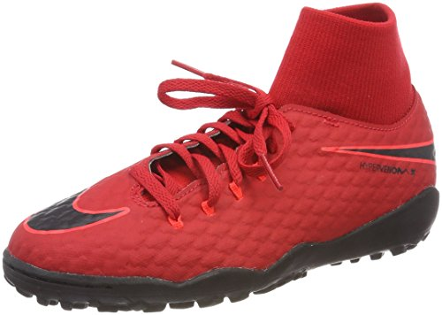 Nike Unisex-Kinder JR Hypervenomx Phelon 3 DF TF Fußballschuhe, Rot (Universität Rot/Schwarz-Helles Karmesinrot 616), 35.5 EU