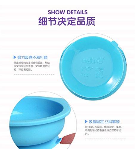 G-JJ Baby tableware Silicone vaisselle infantile silicone ventouse bol bébé goutte ronde bol fournitures d'alimentation, bleu
