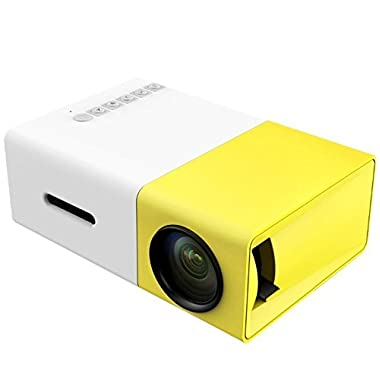DeepLee Mini Projector, DP300 Portable LED Projector support PC Laptop USB Stick USB/SD/AV/HDMI Input for Video/Movie/Game/Home Theater Video Projector- Yellow