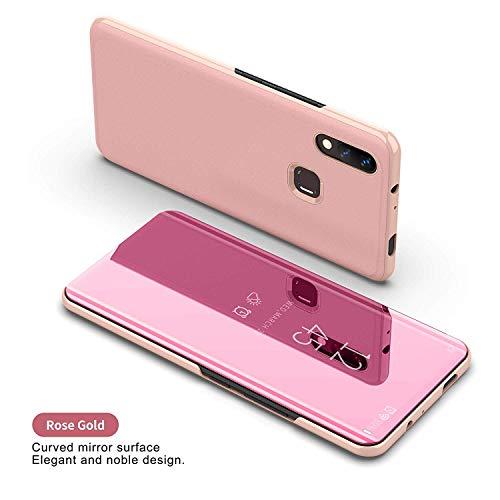 DIFE Ultra Delgado Translúcido Espejo con Función Kickstand Flip Funda Carcasa Case para Huawei Nova 3…