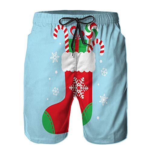 Pantaloncini da Surf da Uomo,illustratore di Vettore di gi-fts delle Caramelle del calzino di Natale,Costume da Bagno con Fodera in Rete ad Asciugatura Rapida 4XL