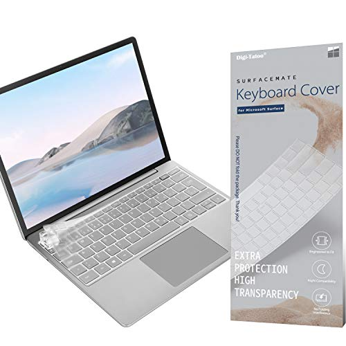 Digi-Tatoo Ultra Thin Keyboard Cover for Microsoft Surface Laptop Go with Fingerprint Power Button (8GB RAM Memory ONLY) 12.4'', Premium High Transparency Keyboard Skin Protector