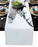テーブルランナー 動物 鹿 手描き ストライプ 黒白 テーブルクロス お食事マット プレースマット おしゃれ インテリア 食卓飾り 滑り止め 欧風 無地 おもてなし パーティー ホームデコレーション 33x274cm