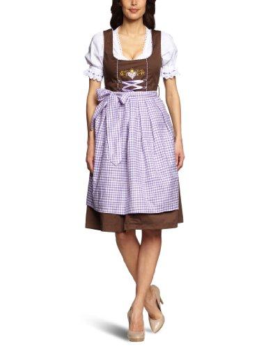 donnerlittchen! Midi-Dirndl Braun Lila Gelb inklusive Bluse und Schürze kariert Trachtenkleid 32-46, Größe:42