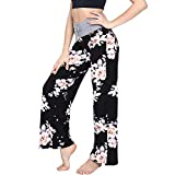 Buttery Soft Pajama Pants for Women – Floral Print Drawstring Casual Palazzo Lounge Pants Wide Leg for All Seasons (L, Black Flower 1) from