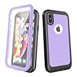ImpactStrong iPhone X/iPhone Xs Case, Ultra Protective Case with Built-in Clear Screen Protector Full Body Cover for iPhone X/iPhone Xs (Light Purple)