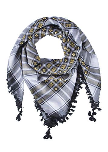 "Merewill Cotton Shemagh Tactical Desert Wrap Keffiyeh Head Neck Arab Scarf For Men 49""x49"" BLACK &White"