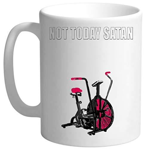 Not Today Satan Air Assault Bike Crossfit Shirt Blanc Tasse