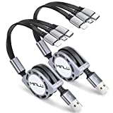 Minlu 4Ft/1.2m Multi Retractable Fast Charger Cord 3A, Multiple Charging Cable 2Pack3-in-1 USB Charge Cord with Phone/Type C/Micro USB for Phone/Tablets/Samsung Galaxy/Pixel/Sony/LG/HTC (Gray)