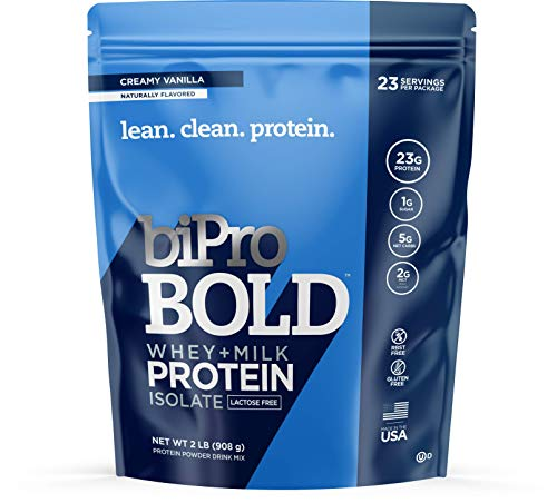 BiPro BOLD Whey & Milk Protein Powder Isolate, Creamy Vanilla 2 Pounds - No Added Sugar, Suitable for Lactose Intolerance, Gluten Free, Naturally Sweetened, Contains Prebiotic Fiber