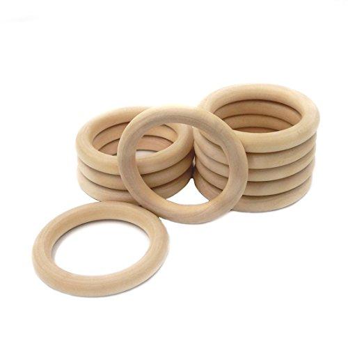 Coskiss 10Pcs Bébé Tétines bois Bague en bois Diamètre extérieur de 50 mm (1,96 pouces) de Anneaux de dentition Lancer Ring Games Bricolage Collier et bracelet Accessoires (couleur bois 10PCS)