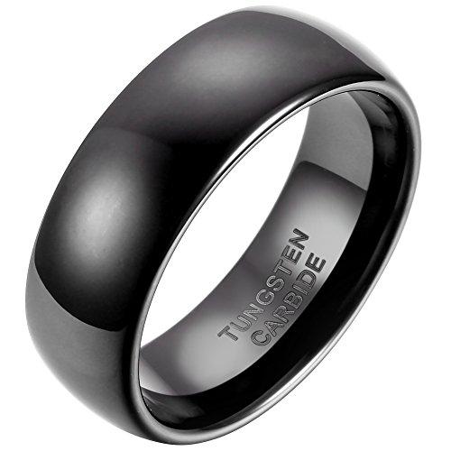 JewelryWe 8mm Black IP Comfort Fit Classic Dome Men's Ladies Unisex Tungsten Carbide Ring Anniversary/Engagement/Wedding Band UK Size - W