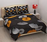 imsid Home Furnishing Glace Cotton King Size Double Bedsheet with 2 Pillow Covers (Orange)