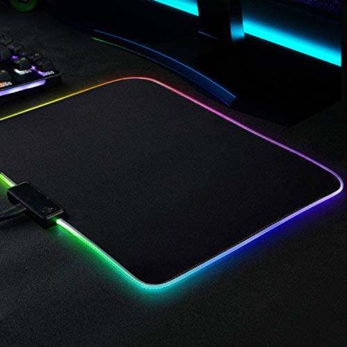 11.8x9.8 Inch Gaming Mouse Pad PC RGB Mouse Pad , Black Small Mouse Pad for LED Soft Light Up ,Anti-Slip Rubber Base, Cool Gaming Medium Mousepad Optimized for Game