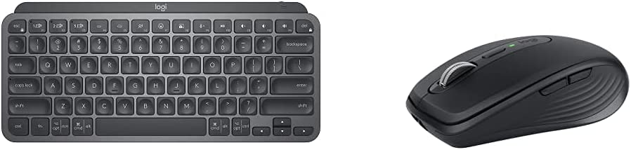 Logitech MX Keys Mini Minimalist Wireless Illuminated Keyboard - Graphite with Logitech MX Anywhere 3 Compact Performance Mouse - Graphite