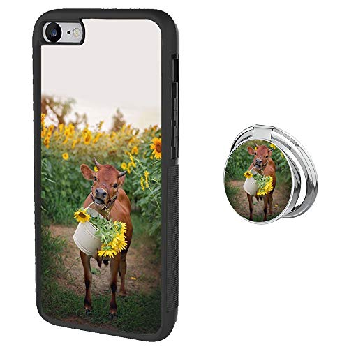 Universal Custom Cows and Sunflowers iPhone 7 8 Case with Ring Holder Kickstand Rotational Heavy Duty Armor Protective Soft TPU Bumper Shell Cover for iPhone 7 8