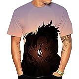 Camisetas,Camiseta Transpirable Informal para Hombre con Estampado De Anime Demon Slayer Ropa De Verano De Manga Corta Estampada En 3D Mezcla De Colores De 2 Colores S