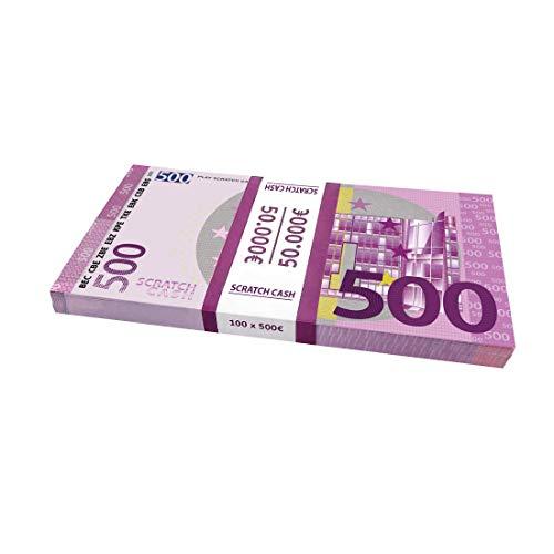 Scratch Cash 100 x 500 Euros para Jugar (del Mismo tamaño Que los Reales)