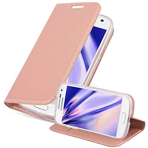 Cadorabo Funda Libro para Samsung Galaxy S4 Mini en Classy Oro Rosa - Cubierta Proteccíon con Cierre Magnético, Tarjetero y Función de Suporte - Etui Case Cover Carcasa