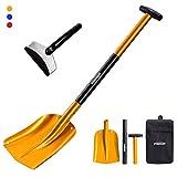 Overmont Snow shovel Ice Scraper Lightweight Aluminum Sport Utility Shovel Portable Collapsible Mud