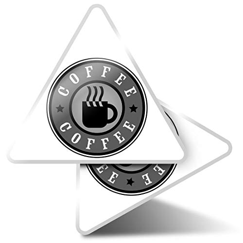 2 x Triangle Stickers 10cm - BW - Coffee Lover Logo Cup Cafe Barista Laptop Tablet Luggage Scrapbook #39934