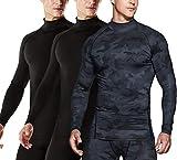 TSLA Chemise de compression à manches longues Cool Dry Fit pour homme - T-shirt d'entraînement athlétique - Couche de base S Mut22 Lot de 3 – Noir/noir/noir