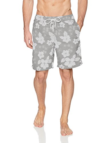 Amazon Essentials Trunk Fashion-Swim-Trunks, Grey Hibiscus Print, US (EU XL-XXL)