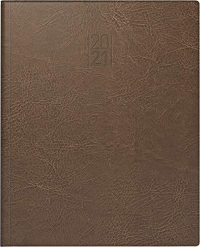 BRUNNEN 1076132701 Buchkalender Manager Wt 7 - weektimer, 2 Seiten = 1 Woche, 21 x 26 cm, Kunstleder-Einband braun, Kalendarium 2021