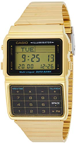 Casio #DBC611G-1D Men's Gold Tone 25 Memory Calculator Databank Watch