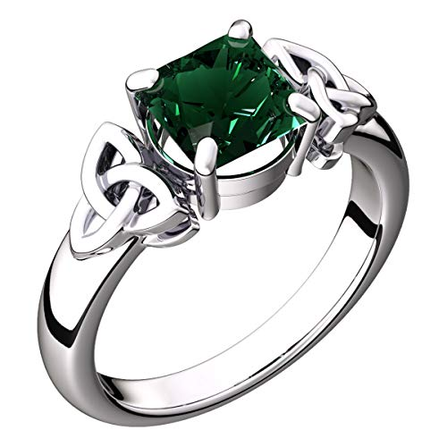 GWG Women's Rings Gift Sterling Silver Ring with Large Emerald Green CZ Square Stone Graced with Celtic Trinity Knots on Sides - 7 for Women