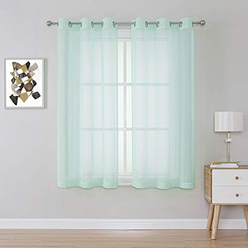 Aqua Sheer Curtains - Seafoam Green Grommet Voile Sheer Drapes Airy Curtain Panels with Light Filtering Window Treatment for Boy's Bedroom(2 Pieces, 38 Wide x 63 Long inches)