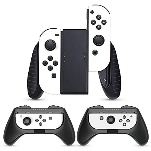 HEYSTOP Grips 3 Piezas Compatible con Nintendo Switch y Switch OLED, Estuche Protector Handle Kits para Mandos Grip Set Compatible con Nintendo Switch Controller Negro