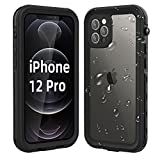WIFORT Case Fit for iPhone 12 Pro, Waterproof Case Full Body Sealed Built in Screen Protector, Dual Layers Front and Back Cover Rugged Snowproof Shockproof Dustproof for iPhone 12 Pro, Black + Clear
