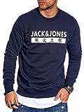 JACK & JONES Herren Sweatshirt Pullover Print Rundhals Streetwear 4 Elements (Medium, Total Eclipse)