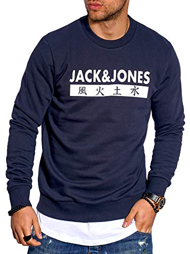 JACK & JONES Herren Sweatshirt Pullover Print Rundhals Streetwear 4 Elements (Large, Total Eclipse)