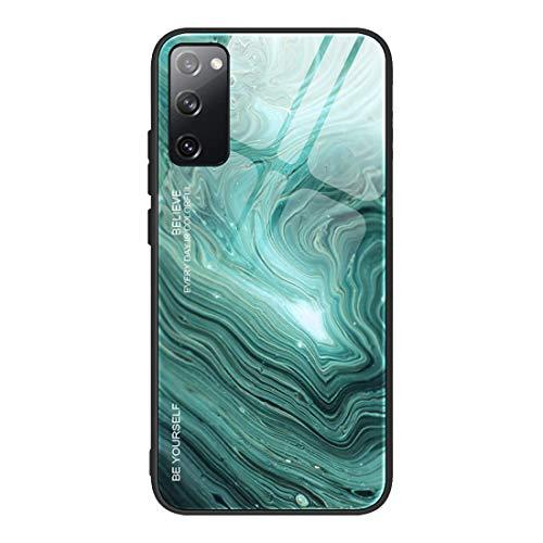 GOGME Funda para Samsung Galaxy S20 FE 5G/S20 Fan Edition Fundas, Tapa Trasera de Cristal Templado Resistente a Arañazos, Textura de Mármol de Protectora Carcasa, Marco de Silicona TPU Case Cover(2)