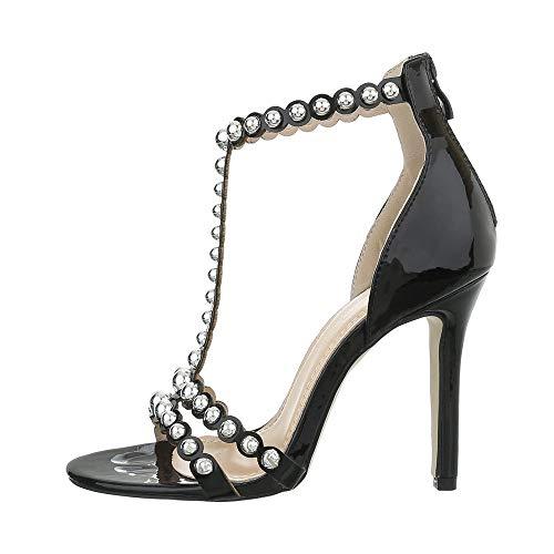 Ital Design Damenschuhe Sandalen & Sandaletten High Heel Sandaletten Synthetik Schwarz Gr. 38
