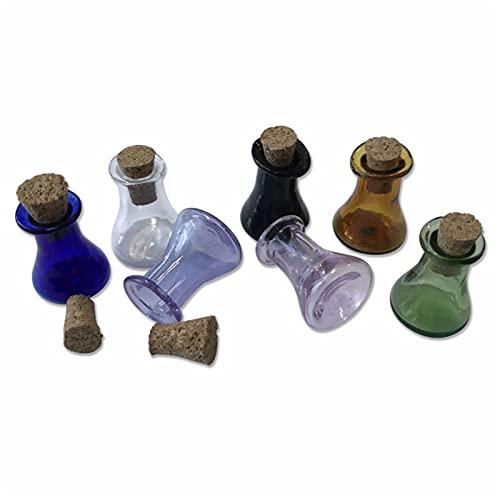QFDM Botella de Almacenamiento Botellas de Botellas de frascos de Colores de Vidrio con Corcho Poco Plana Plana Vino vinícolas Mezcla 7colors Botellas, Jarras y Cajas