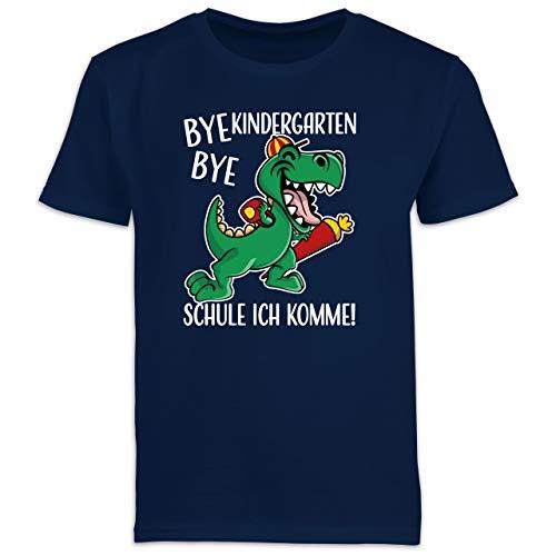 Einschulung und Schulanfang Geschenk - Bye Bye Kindergarten - Schule ich komme! mit Dinosaurier - weiß - 128 (7/8 Jahre) - Navy Blau - Kurzarm - F130K Schulanfang - Schulanfang Jungen T-Shirt Kinder