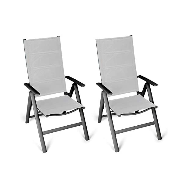 Vanage gepolsterter Gartenstuhl in grau - Klappstuhl im 2er Set - Hochlehner - Klappsessel - Gartenmöbel - Stuhl für…