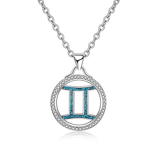 Constelaciones Collares,12 Collar con Colgante De Constelación De Géminis para Mujer, Colgante De Imitación De Ópalo Azul, Collar De Circonita Cúbica Blanca, Cadena De Regalo