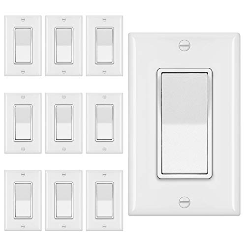 [10 Pack] BESTTEN 3-Way Decorator Wall Light Switch with Wallplate, 15A 120V, On/Off Paddle Rocker Interrupter, UL Listed, White