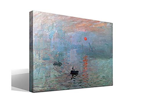 Cuadro wallart Sol Naciente - Oscar-Claude Monet - Ancho: 95cm - Alto: 70cm - Impresión sobre Lienzo de Algodón - Bastidor de Madera 3x3cm - reproducción Digital de Obras de Arte
