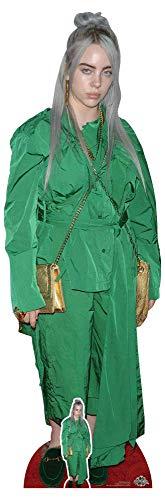 Star Cutouts CS804 Billie Eilish Green Suit Gold Bag Lebensgröße Pappaufsteller inklusive Mini-Tischaufsatz, Höhe 161 cm, mehrfarbig